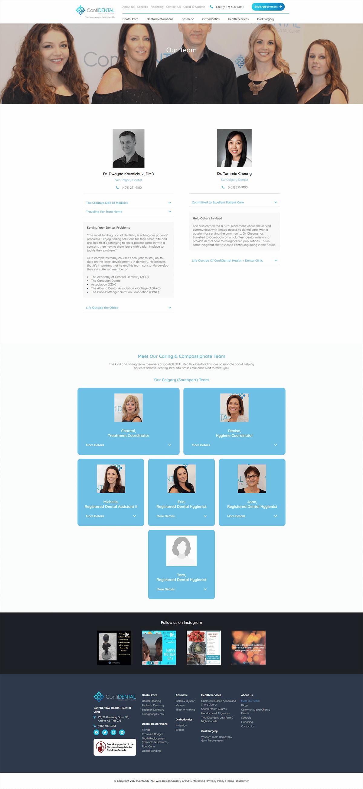 airdrie family dentist portfolio team