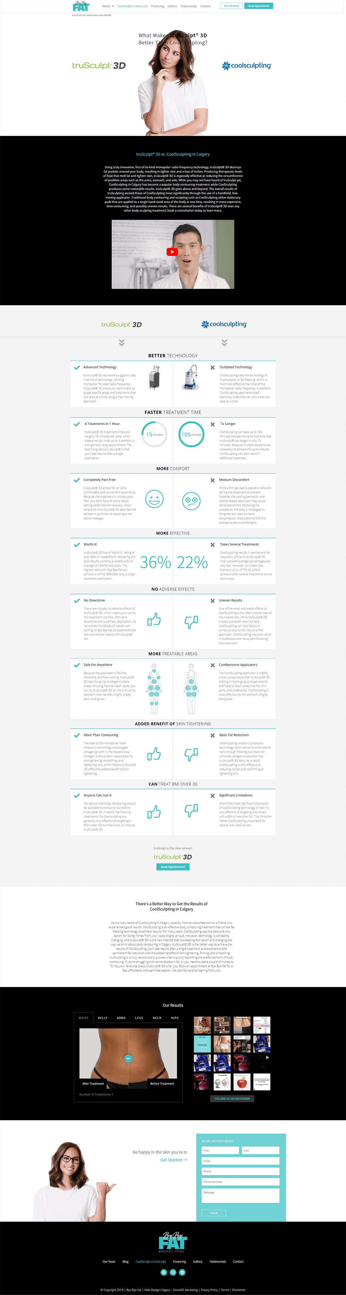 bye bye fat portfolio service page