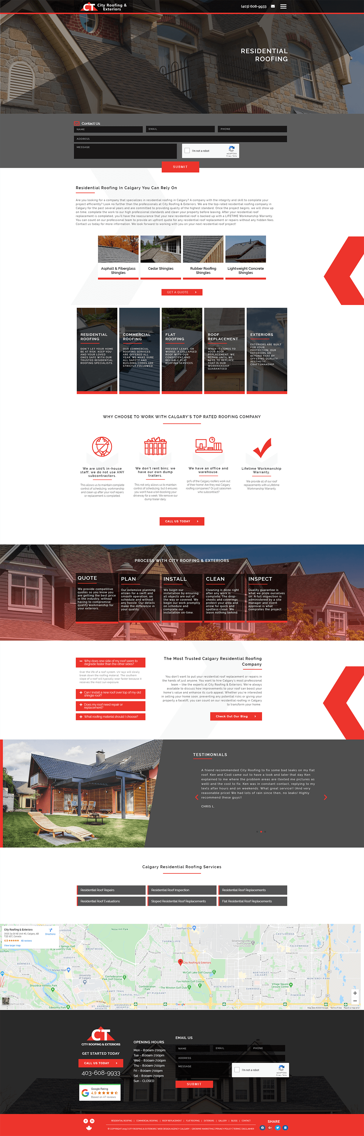 city roofing service page