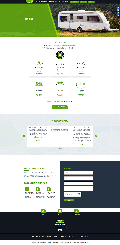 stowaway rv storage pricing page