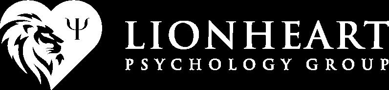 lionheart psychology group white logo