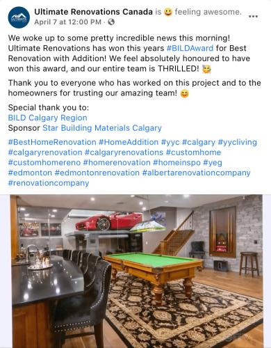 Ultimate Renovations Award